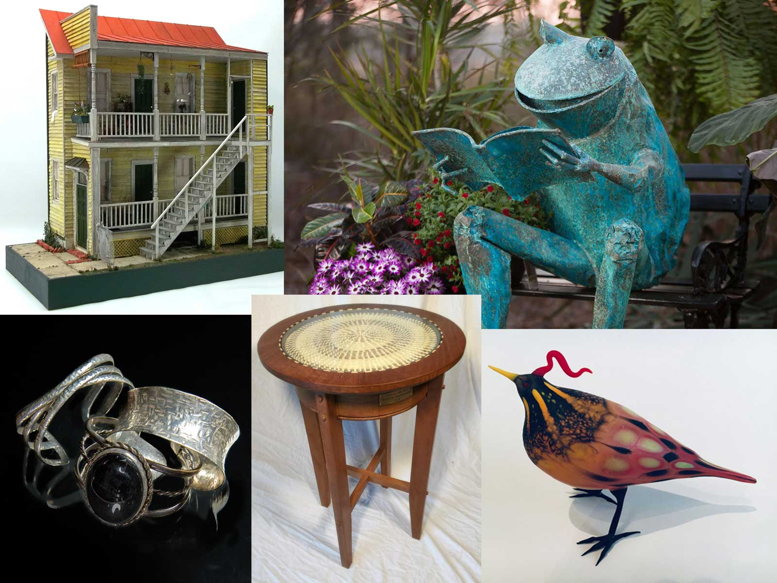 Lowcountry Artists Gallery, Charleston, 3d sculpture, miniature contruction, glass, Furniture, jewelery, sweetgrass baskets