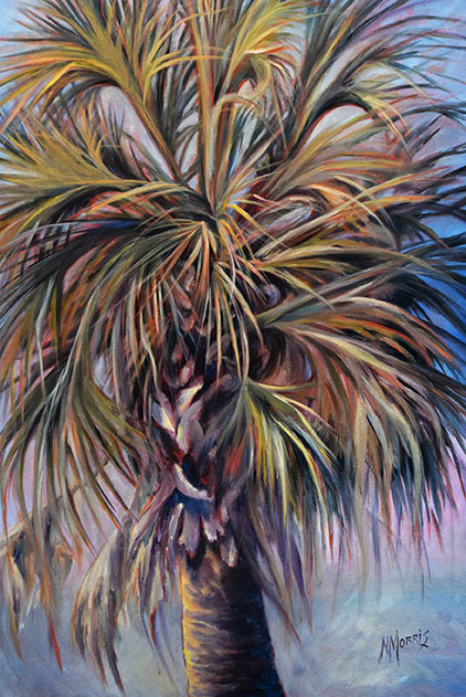 Norma Morris Cable, 'Carolina Palm' Oil on Canvas 36x24