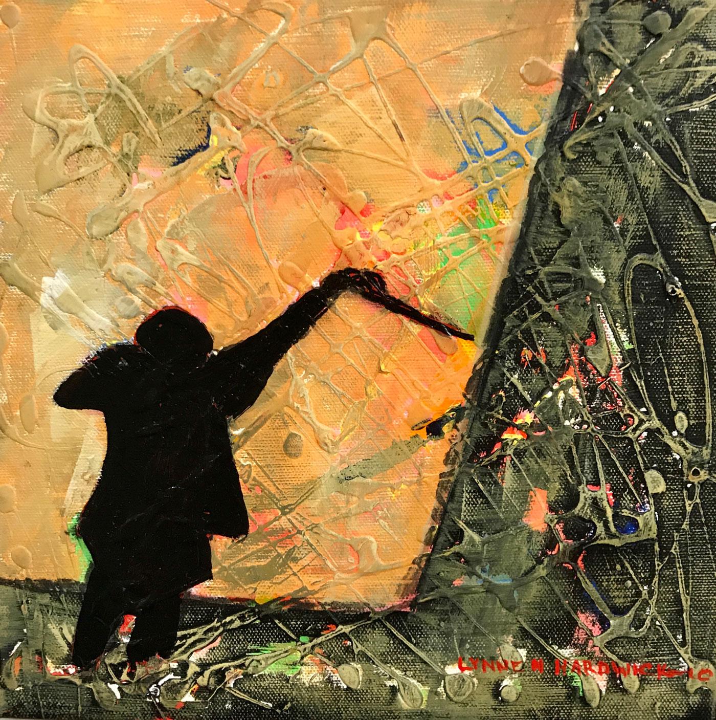 Lynne Hardwick, The-Conductor-III, Mixed Media, 8x8