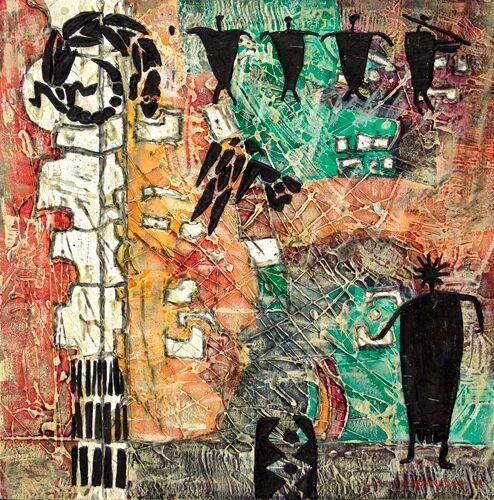 Lynne Hardwick, Petroglyph-XVIII, Mixed Media, 12x12