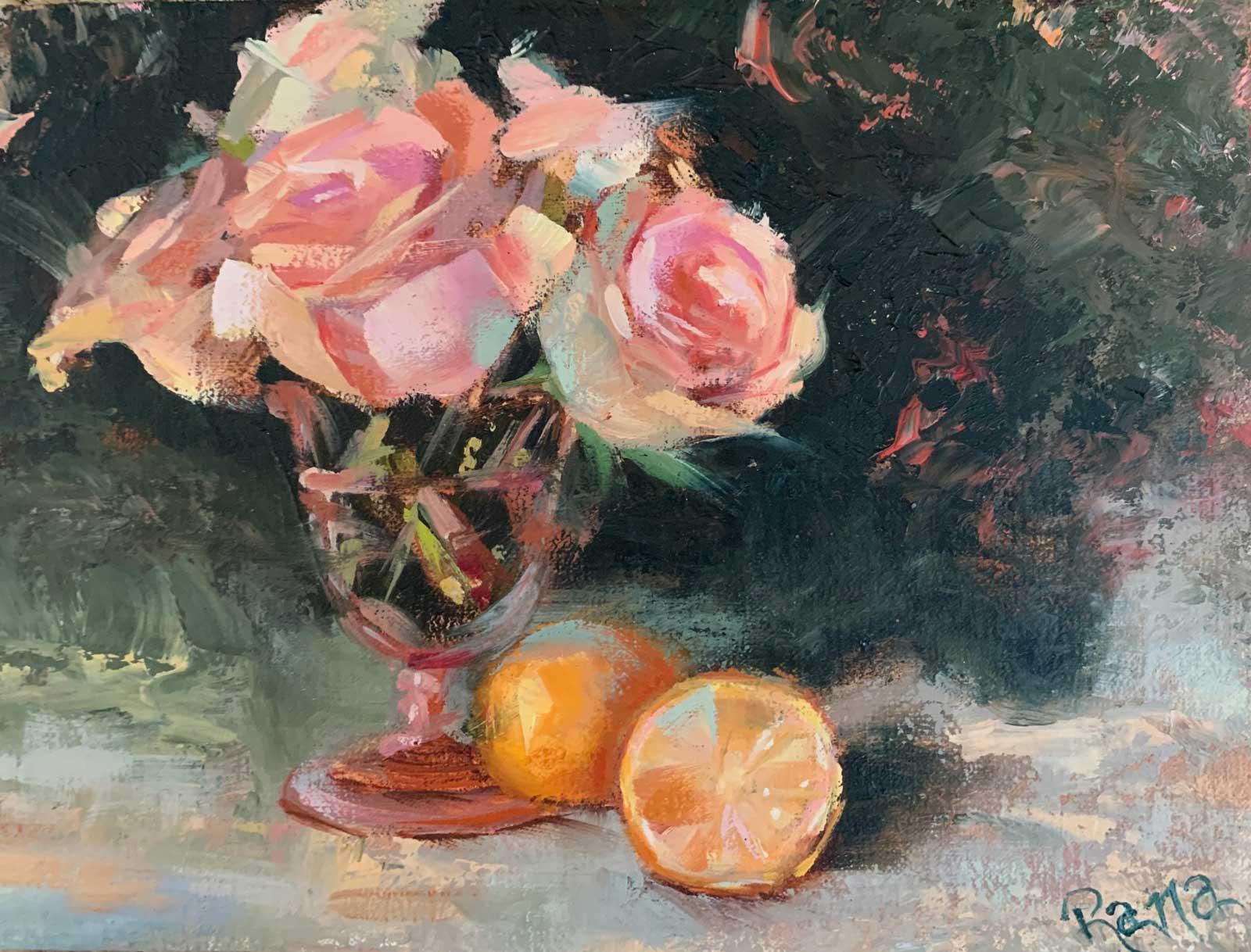 Rana Jordahl, Roses and Lemons, 6x8 Oil on panel