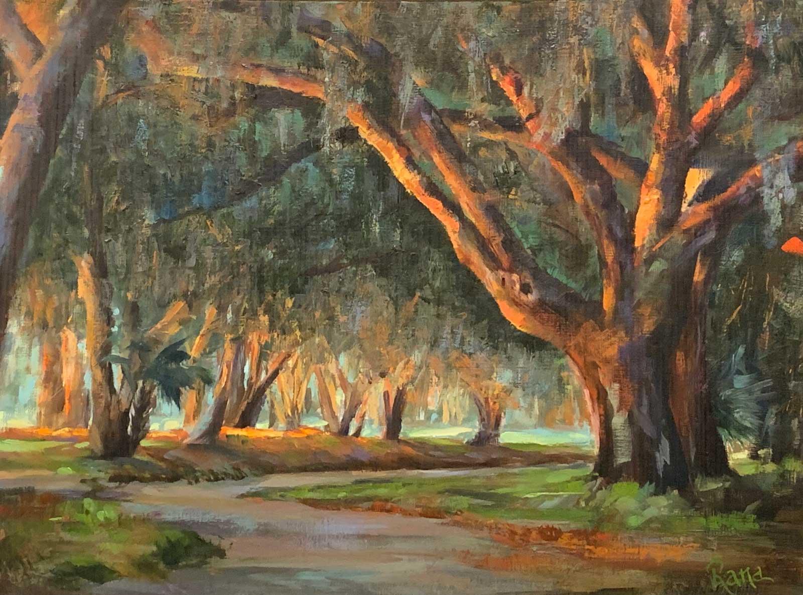 Rana Jordahl, Sunlit Oaks of the Lowcountry, 16x20 Oil on board