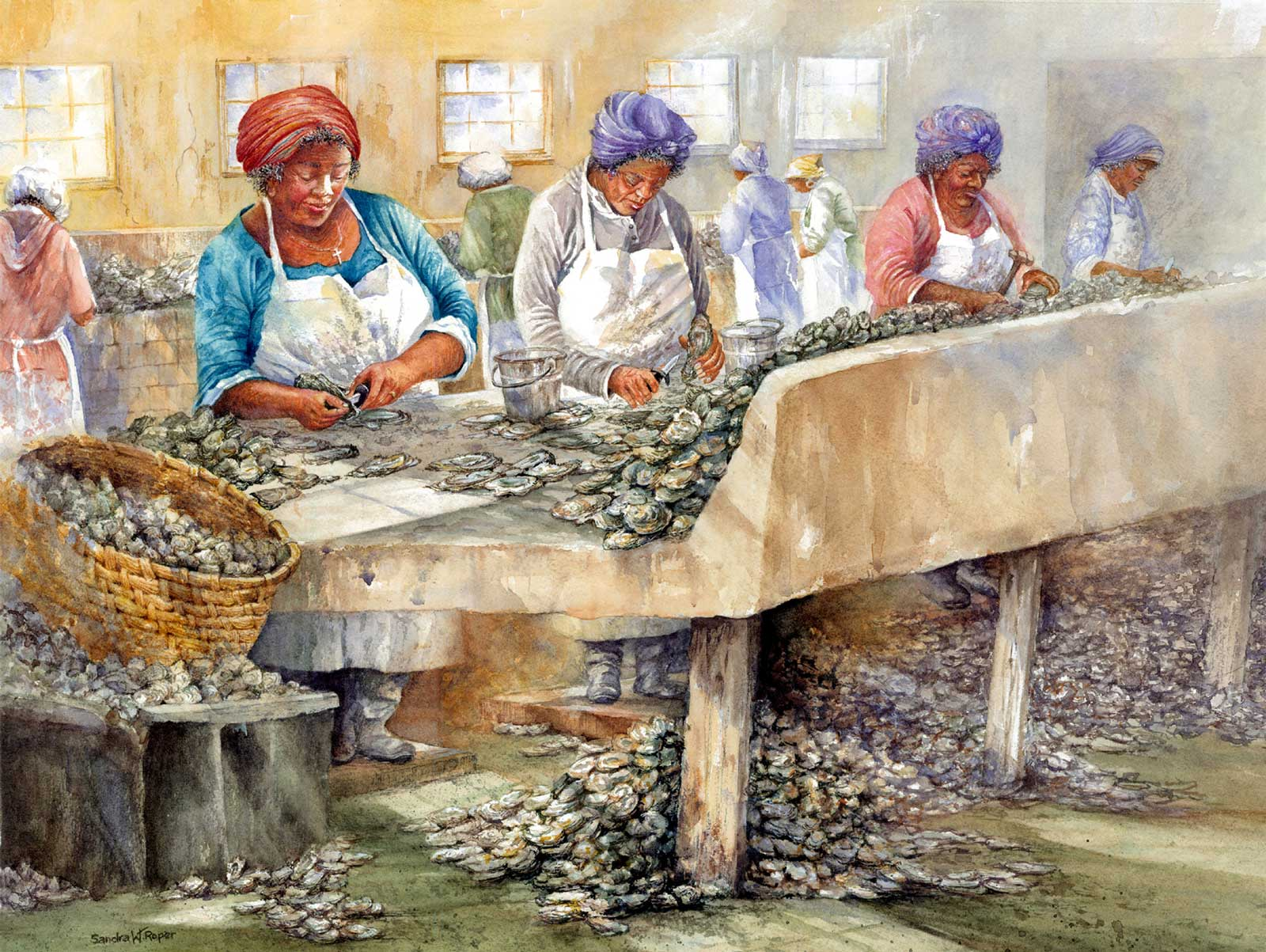 Sandra Roper, May River Oyster Chuckers, 17x21, Watercolor