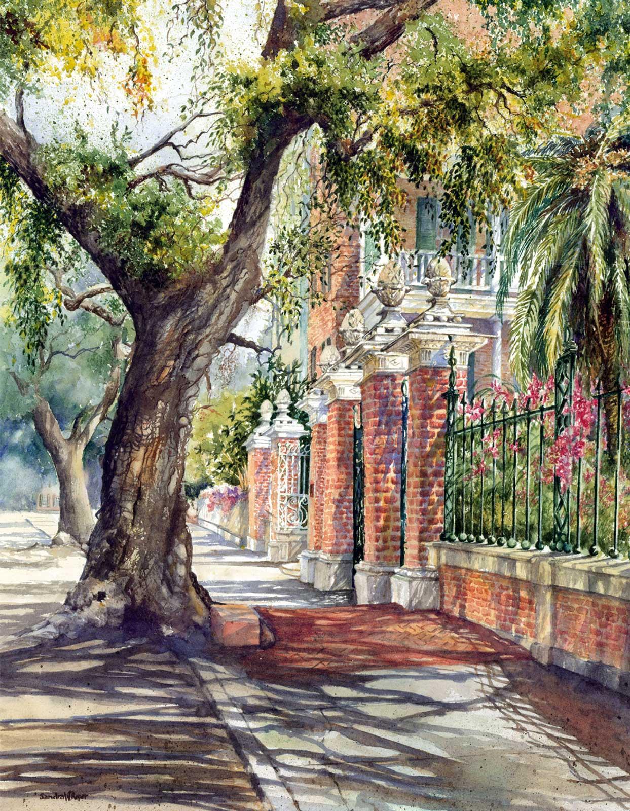 Sandra Roper, Pineapple Gates, 16.5x22 Watercolor