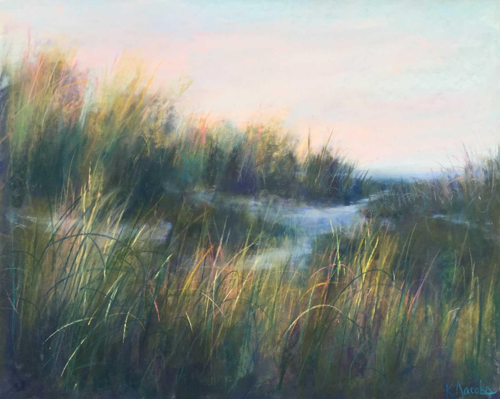 Kellie Jacobs, Carolina Beach at Dusk, Pastel, 18x24