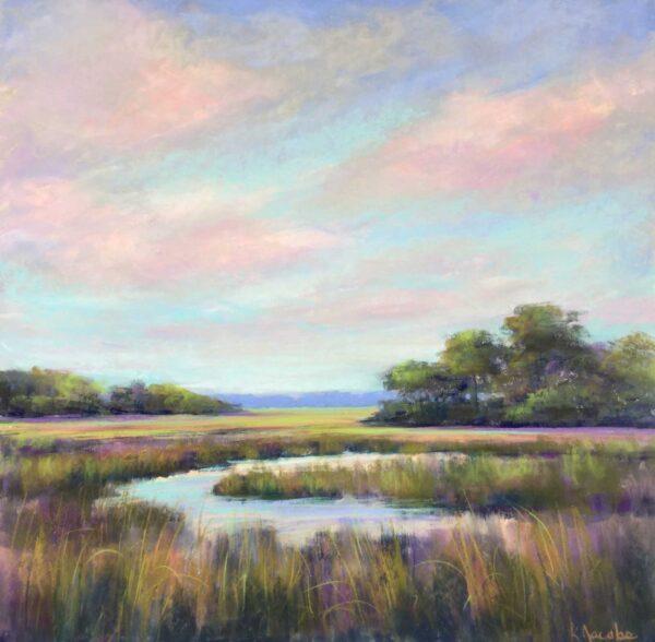 Kellie Jacobs, Cresent Marsh, Pastel, 20x20