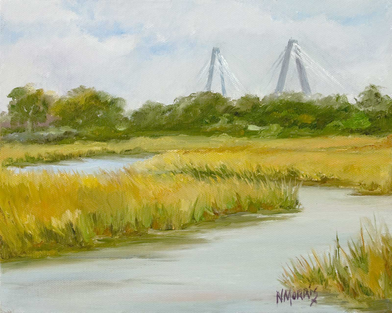 Norma Morris Cable, Ravenel from Shem Creek, 8x10-oil-360