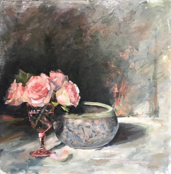 Rana Jordahl, Looking Through Rose Colored Glasses, 24x24 Oil on board