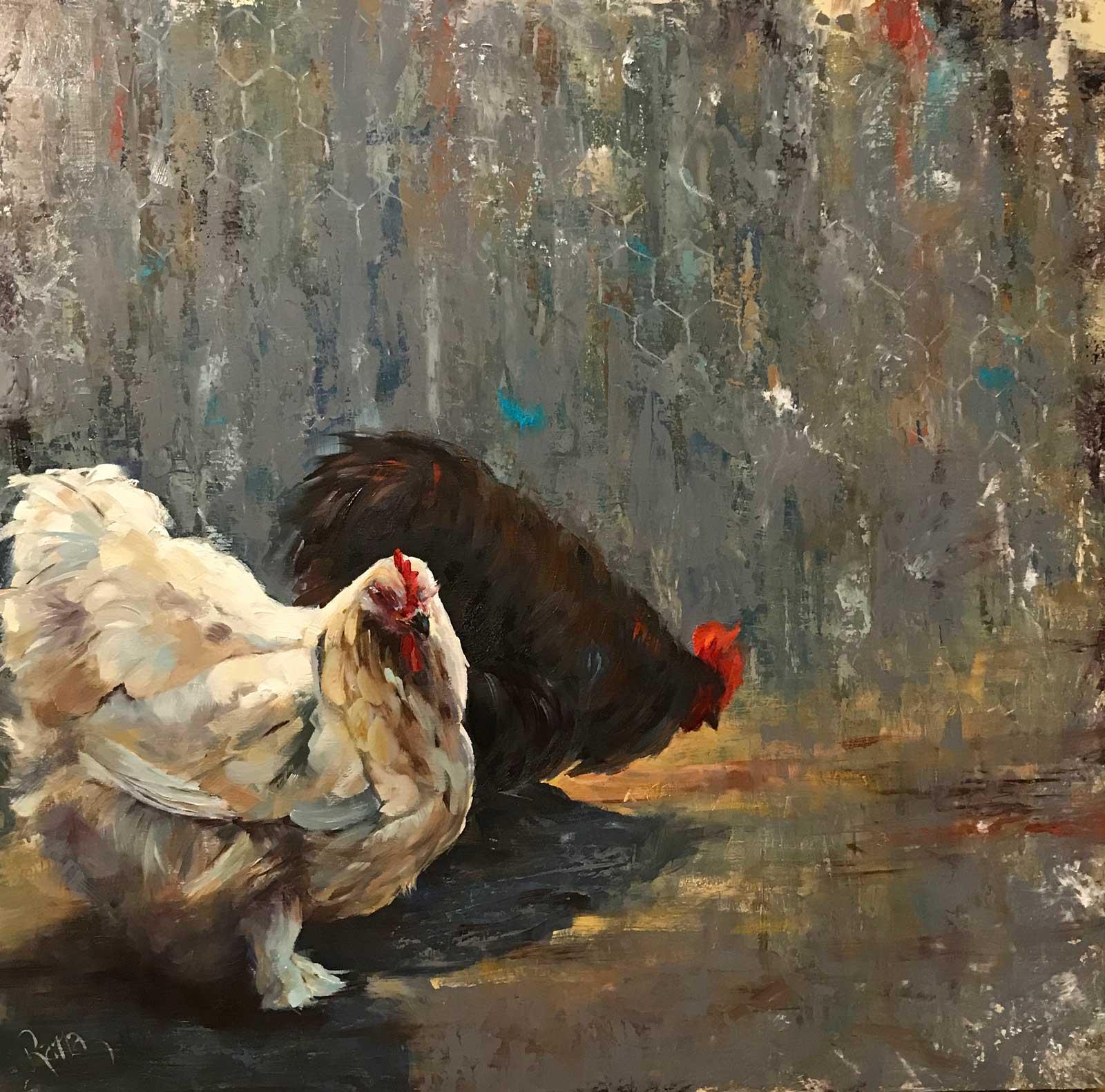 Rana Jordahl, Feathered Friends, 24x24 Oil on board