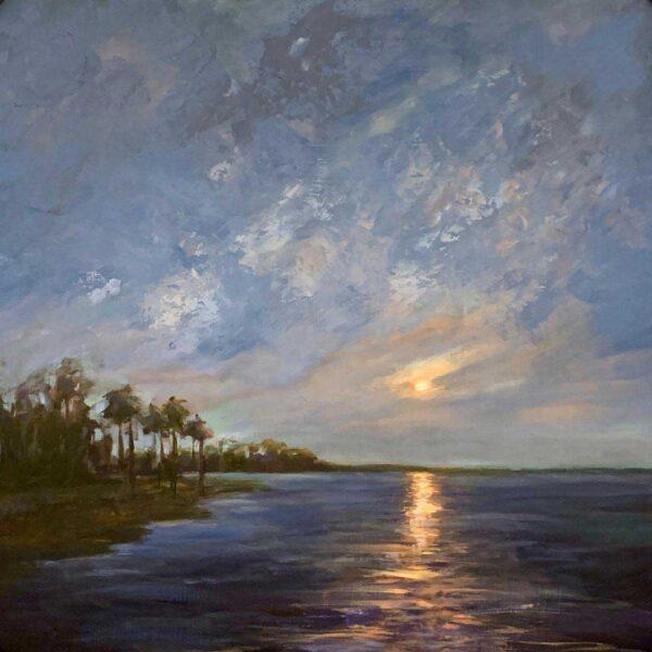 Rana Jordahl, Moon from YEamann's Hall,24x24 Oil