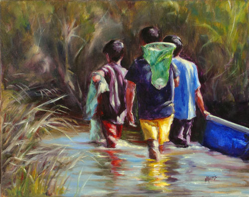 Norma Morris Cable, Creek-shrimpers, Oil