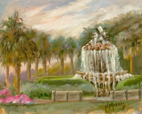 Norma Morris Cable, Pineapple Fountain, Oil