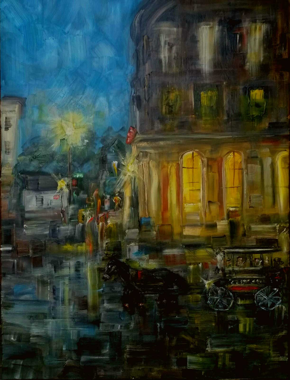 Tommy Beaver, Twilight at Corner of Broad and East Bay Oil 30x40