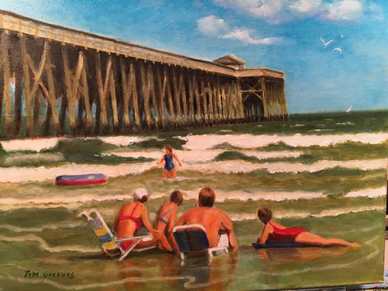 Tim Greaves By The Pier-Oil 16x20 - $1800