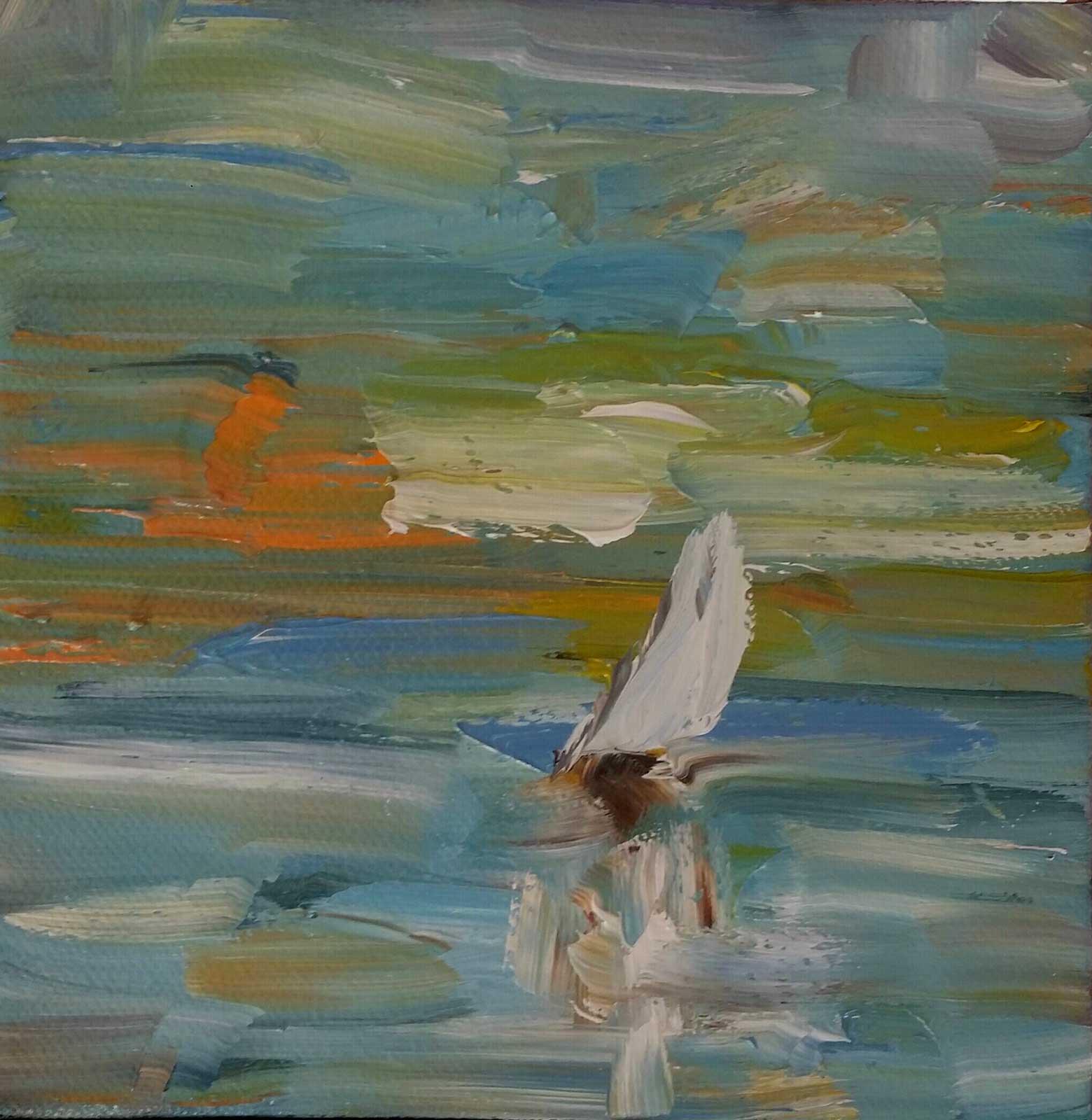 Tommy Beaver, Jeremy Creek Sunset, Oil 6x6