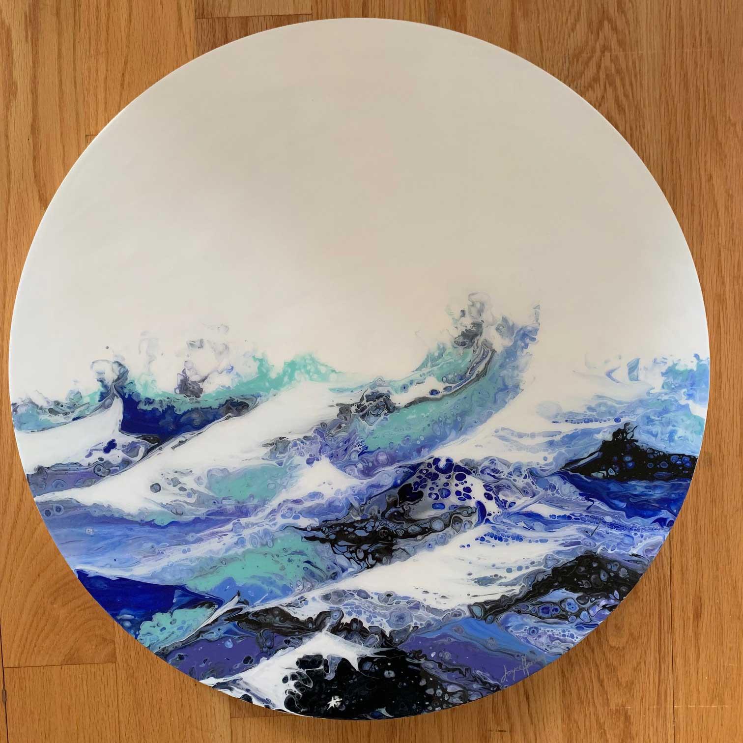 "Joyce Harvey Ocean Motion acrylic resin 24"" $1,100"