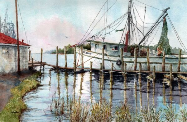 Docking Along the Sampit River, Watercolor, 16x24 $1500