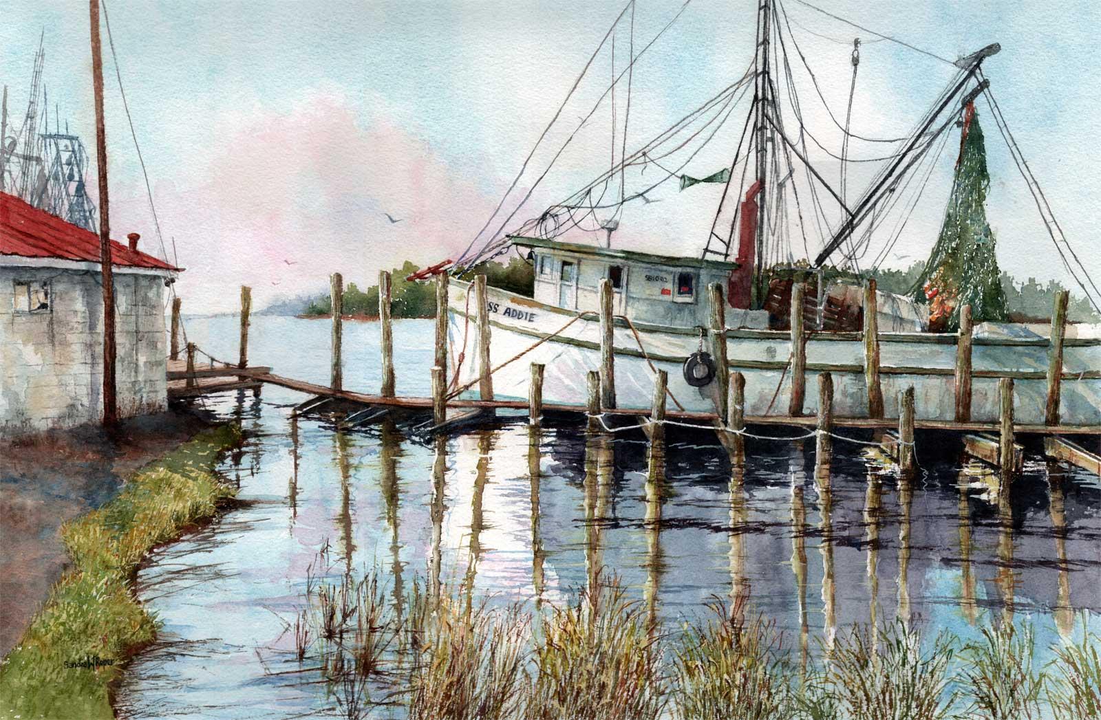 Docking Along the Sampit River, Watercolor, 16x24 $1500