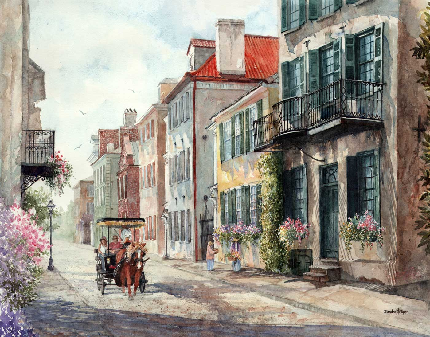 Sandra Roper, Historic Tradd Street, Watercolor 22x28 $1700