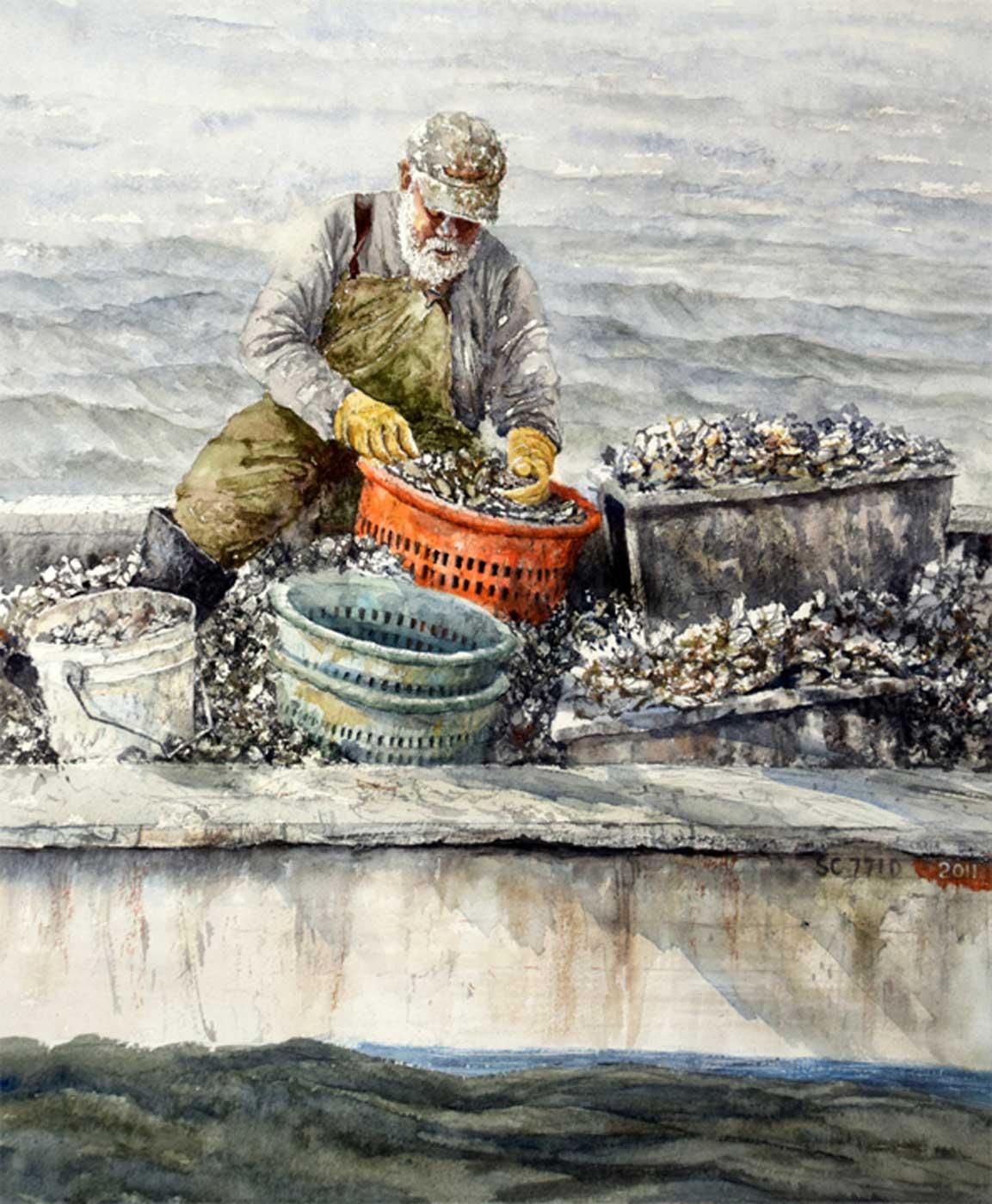 Sandra Roper, Oyster-Haul, Watercolor, 16x20 $1350