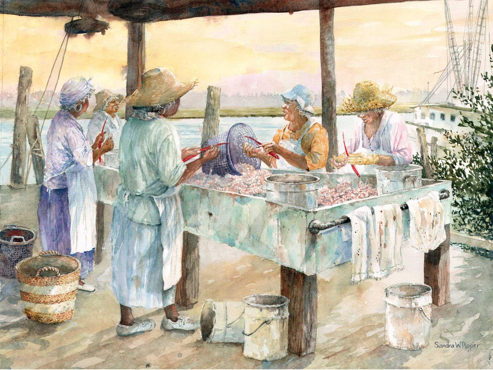 Sandra Roper, Shrimp Chatter, Watercolor, 16x20 $1200