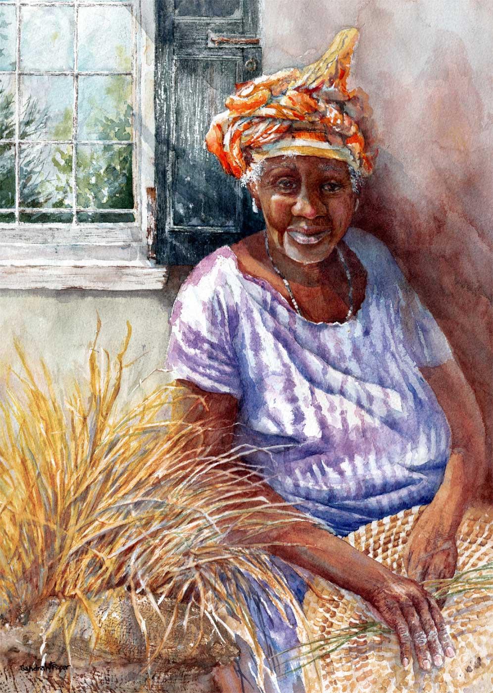Sweetgrass Basket Maker, Watercolor 16x20 $1350