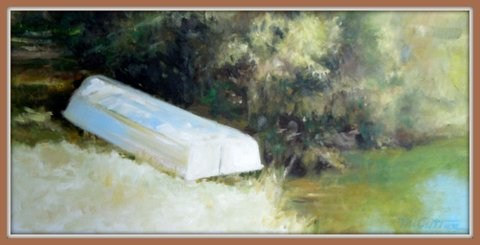 Margaret Cutter Too Hot to Fish Oil on canvas 10x20 $800