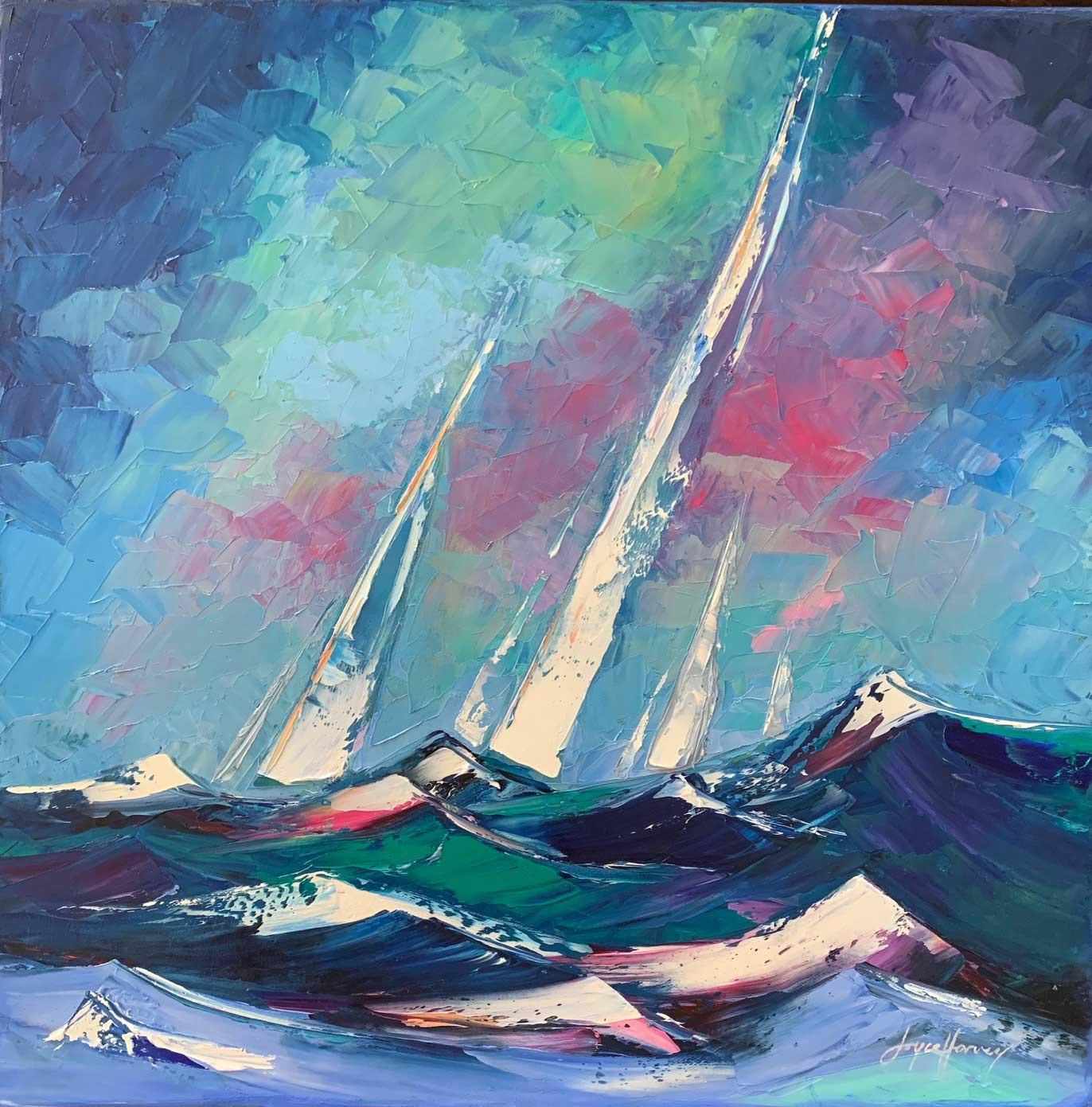 Joyce Harvey, Art Of Sail Oil 20x20 $850
