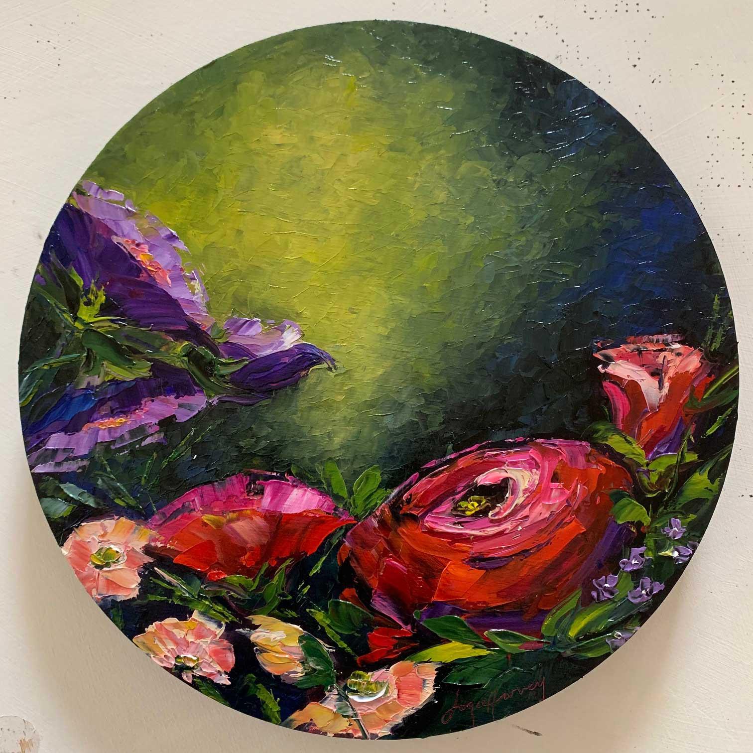 """Joyce Harvey Bloomers Oil 10"""" $395"""