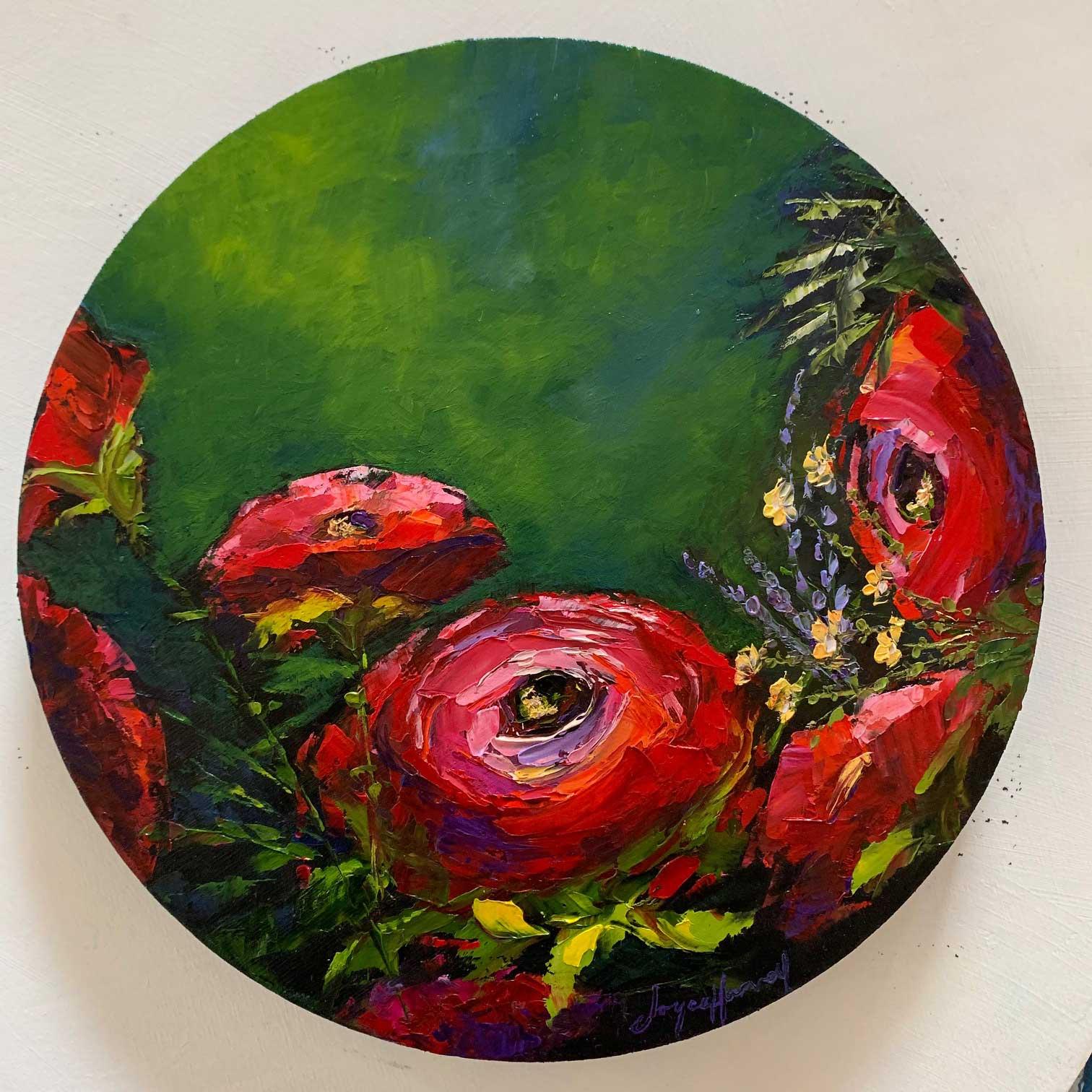 """Joyce Harvey Bloomies Oil 10"""" $395"""
