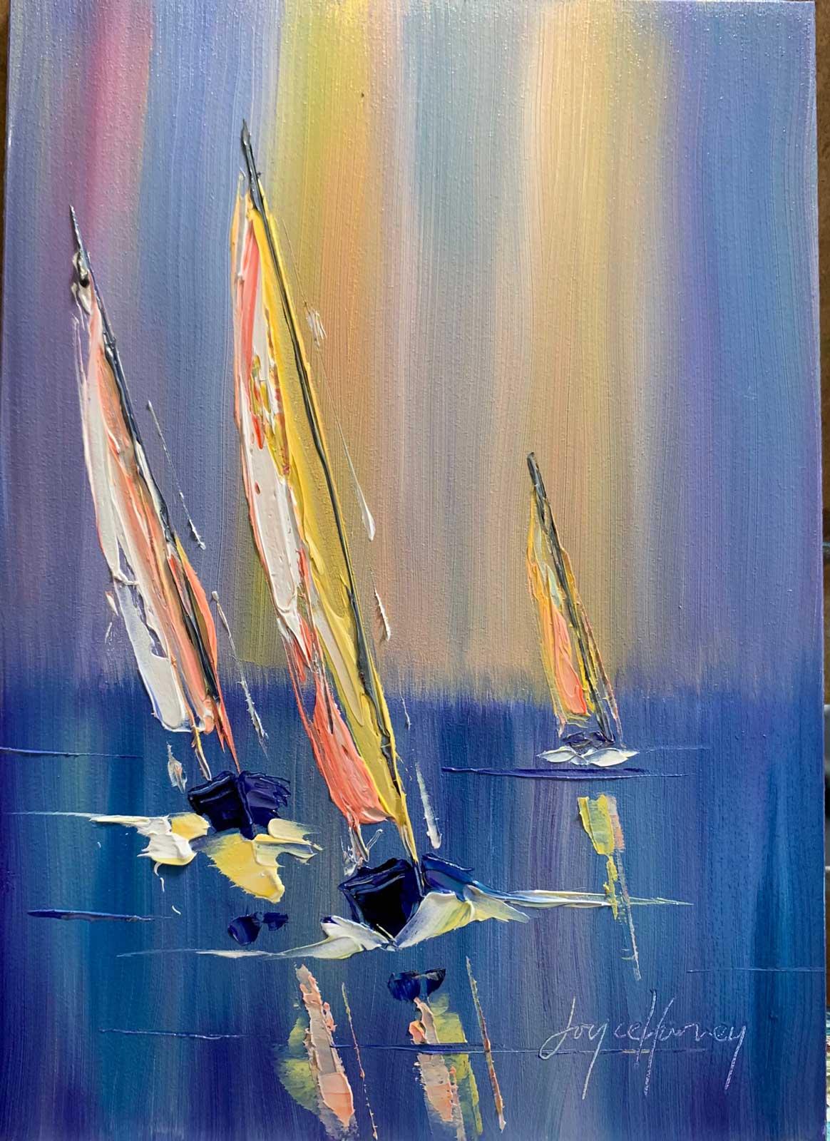 Joyce Harvey regatta time 5x7 oil $225