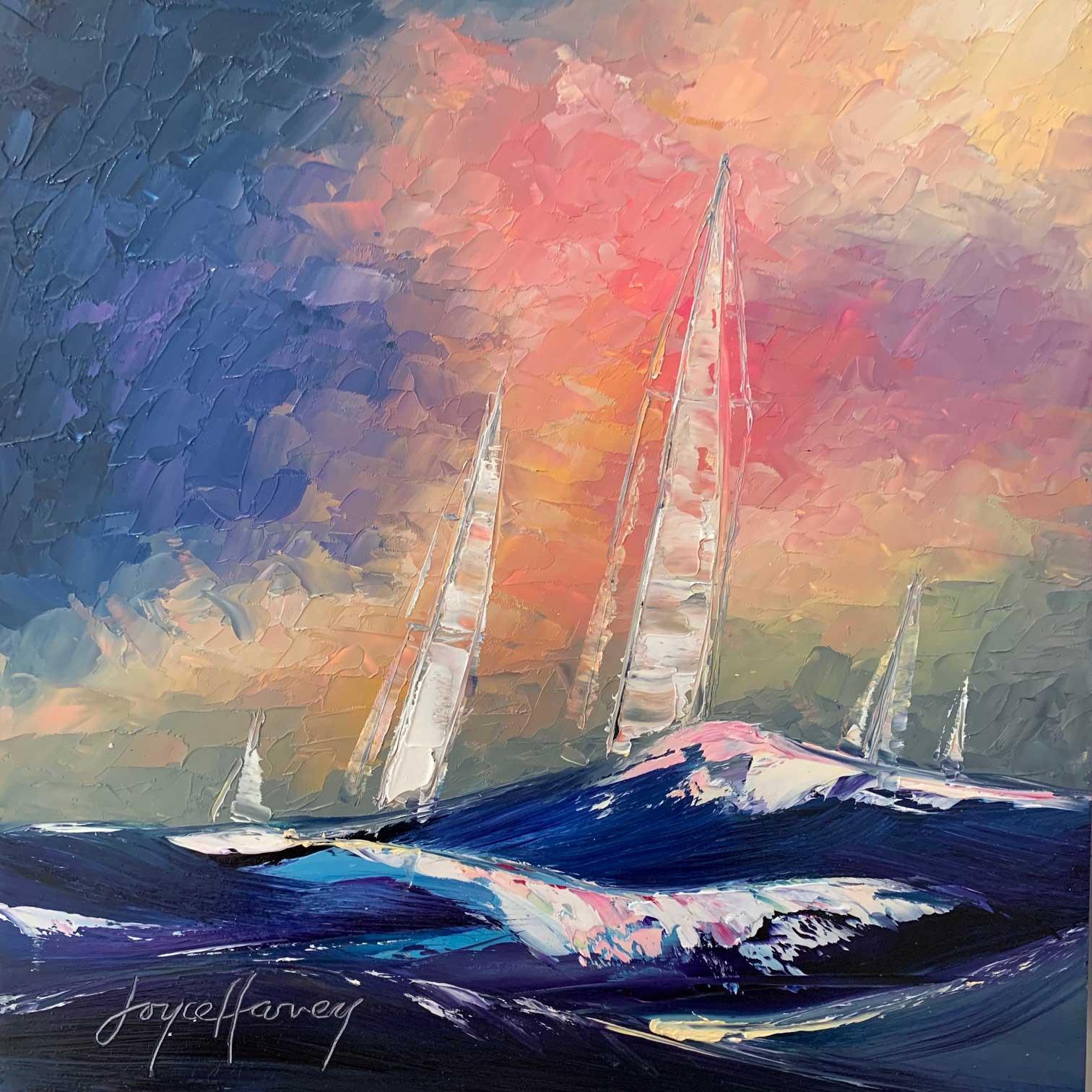 Joyce Harvey sea sail 8x8 $310 oil
