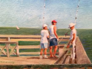 Tim Greaves Carolina Pier Fishing 8x10 Oil on Board
