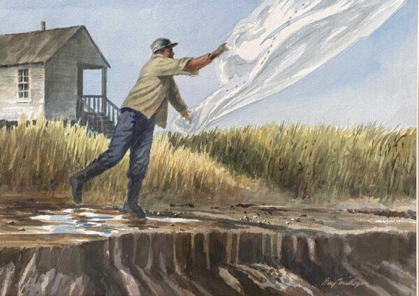 Guy Milligan Cast Net 13x18 Watercolor 1200