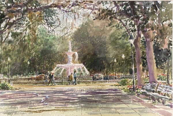 Guy Milligan Forsyth Fountain 14x21 Watercolor $1500