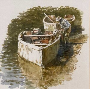 Guy Milligan Oyster Man In Bateau 9x9.5 Oil on Canvas $1200