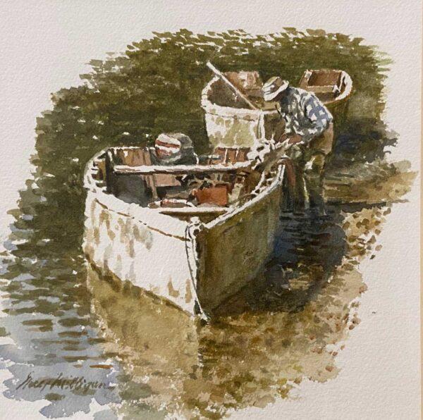 Guy Milligan Oyster Man In Bateau 9x9.5 Oil on Canvas $1200